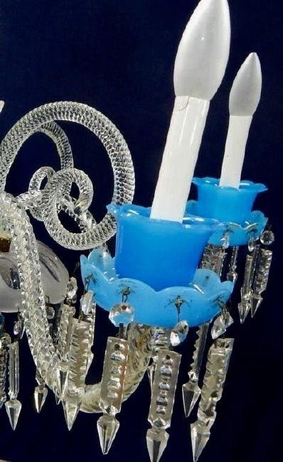 BACCARAT BLUE AND CLEAR CRYSTAL CHANDELIER - 4