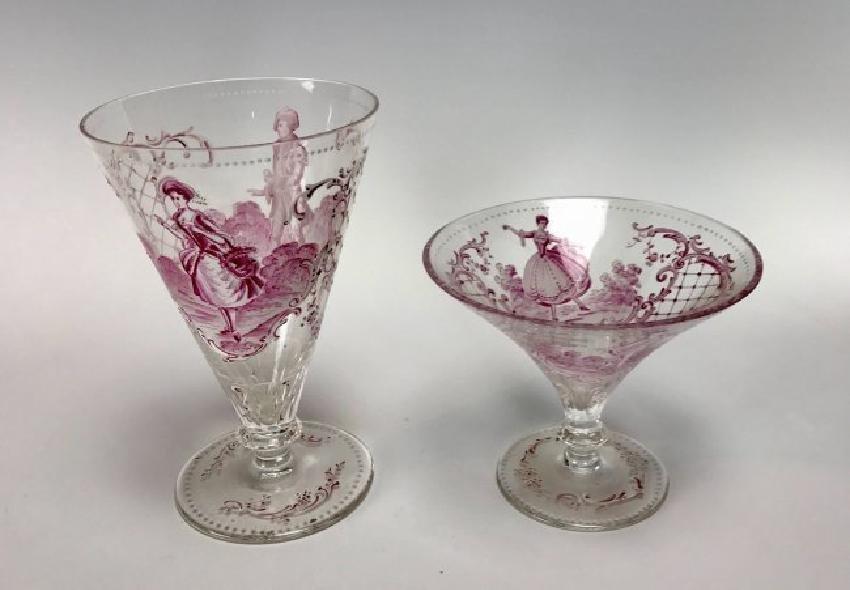 2 ENAMELLED LOBMEYR GLASSES