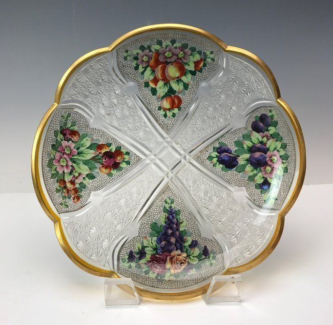 A LARGE 19TH C. MOSER ENAMELLED DISH