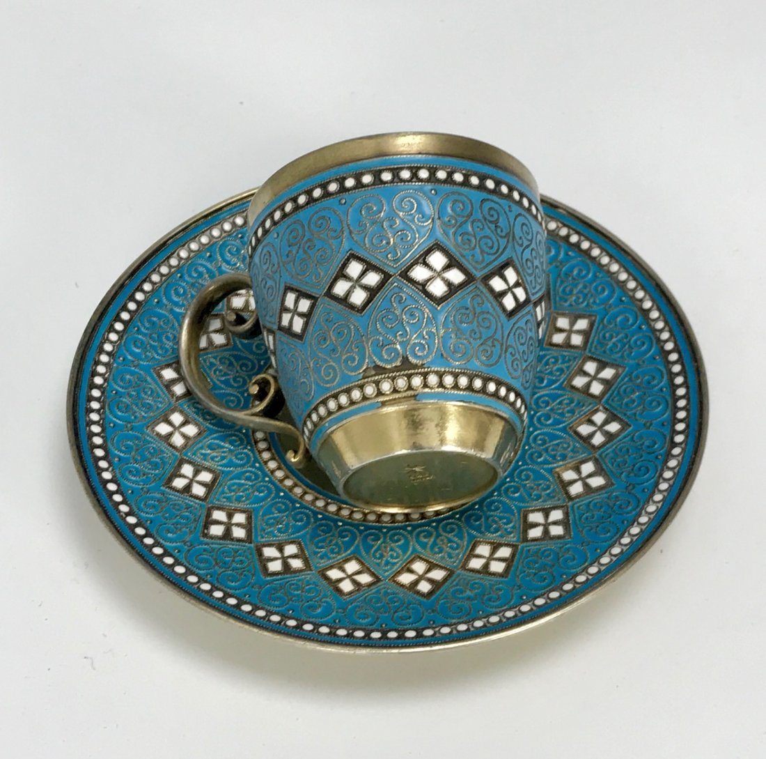 SILVER AND ENAMEL CUP AND SAUCER - 2
