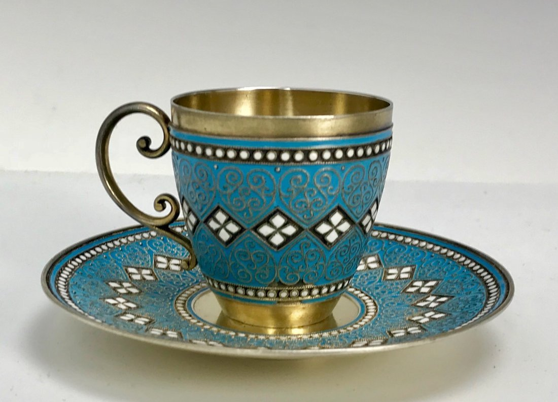 SILVER AND ENAMEL CUP AND SAUCER - 3