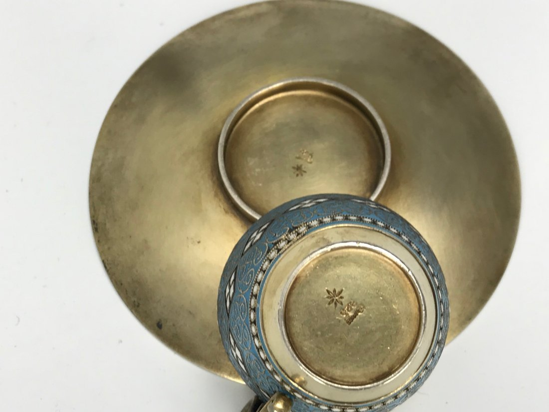 SILVER AND ENAMEL CUP AND SAUCER - 4