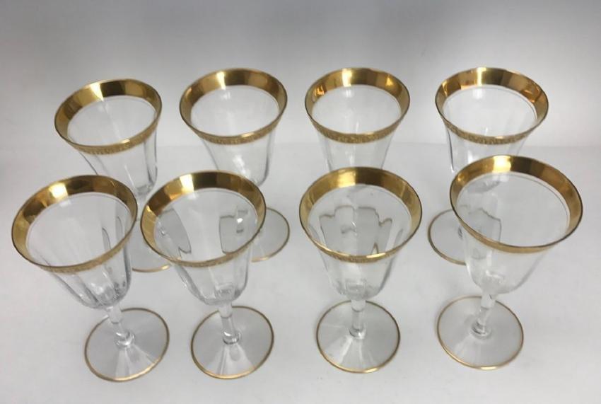 SET OF 8 GILT TOP WINE GLASSES - 3