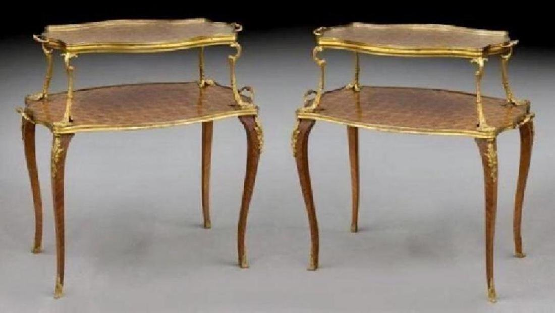 A PAIR OF 19TH C. ORMOLU MOUNTED KINGWOOD T-TABLES
