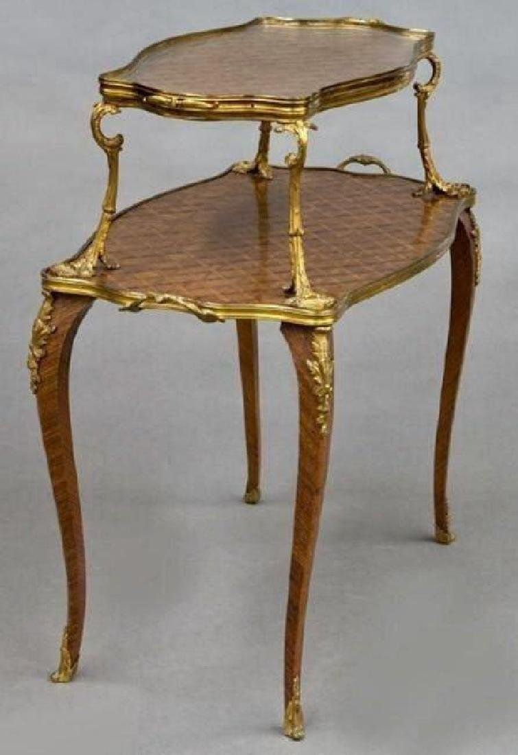 A PAIR OF 19TH C. ORMOLU MOUNTED KINGWOOD T-TABLES - 3