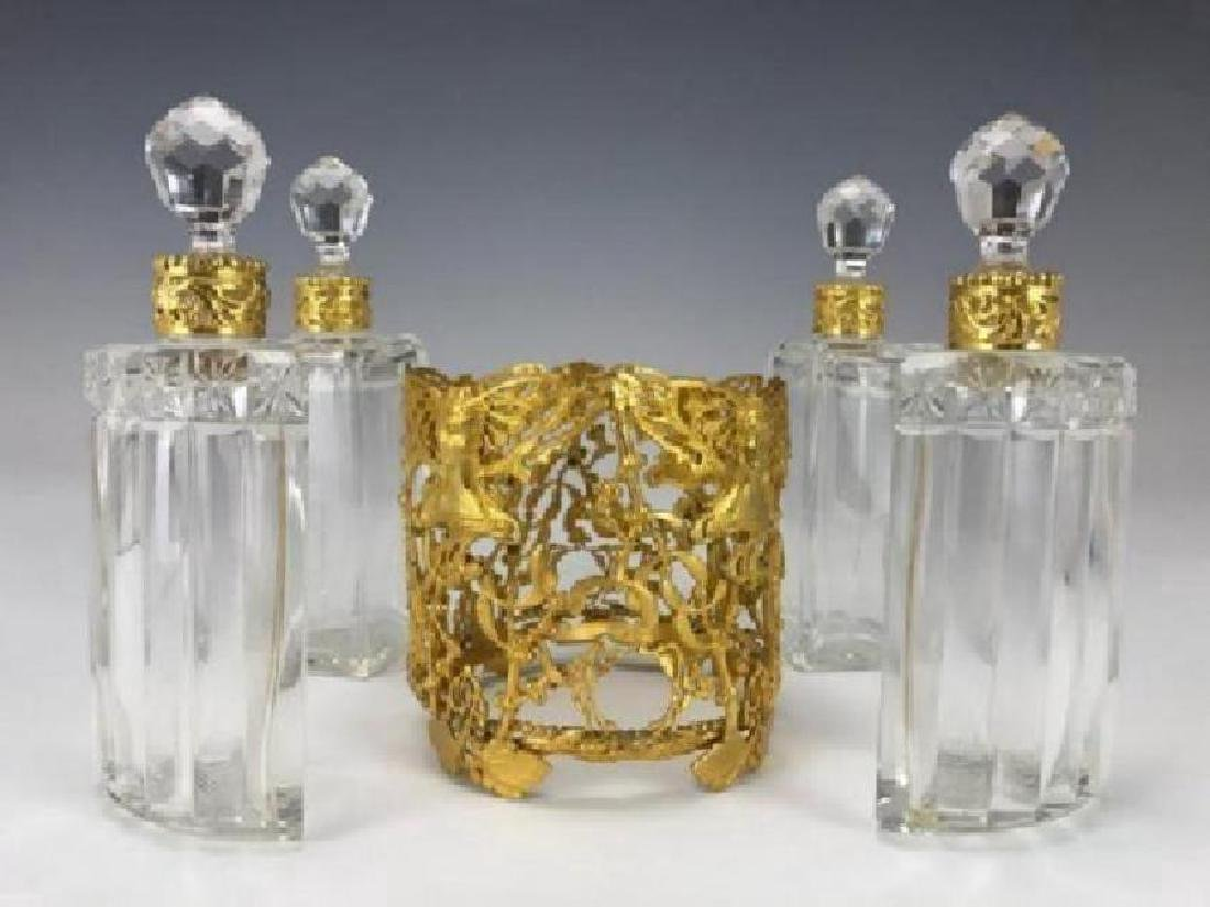 A VERY FINE DORE BRONZE AND BACCARAT GLASS PERFUME - 2