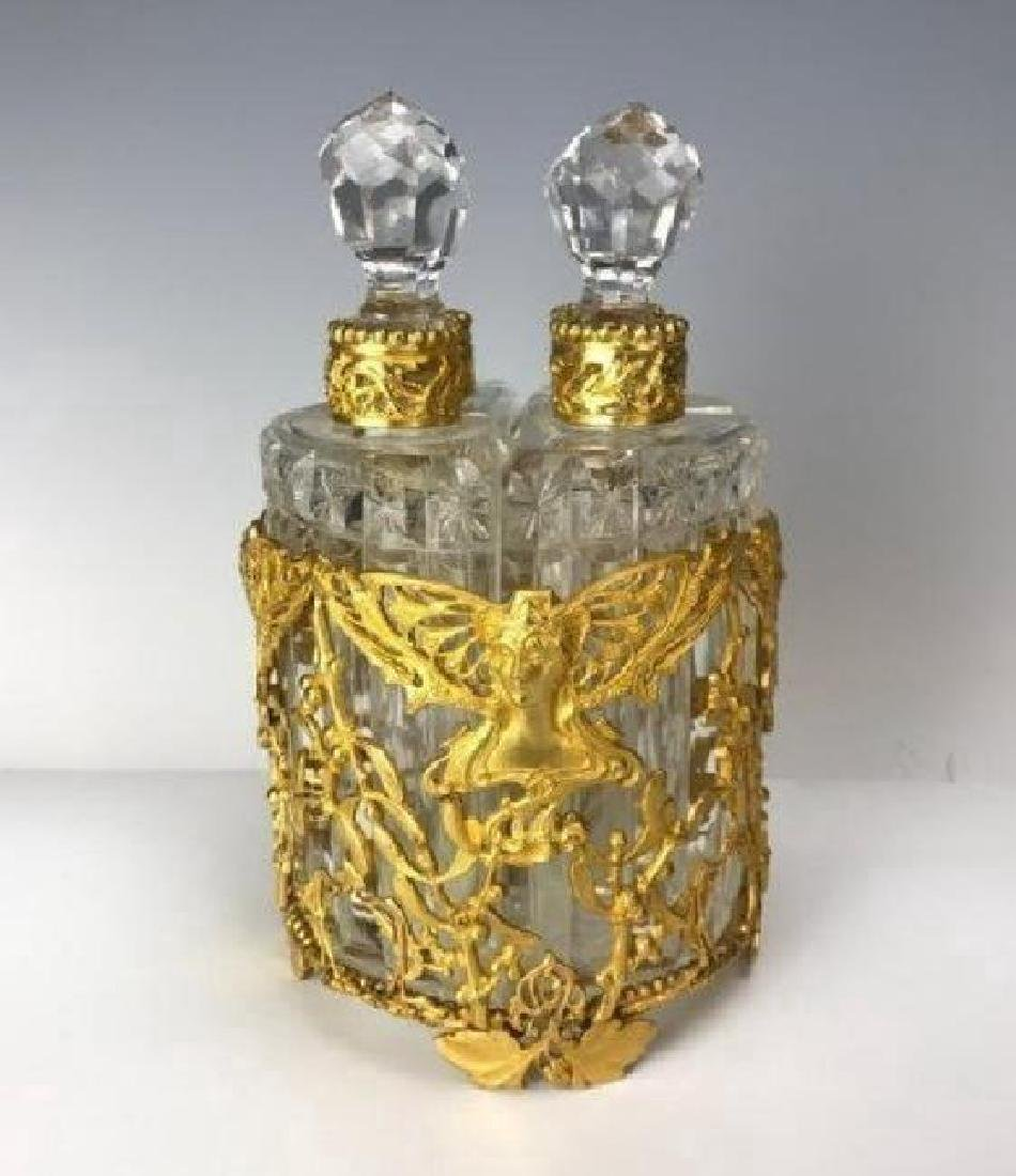 A VERY FINE DORE BRONZE AND BACCARAT GLASS PERFUME - 3
