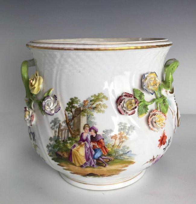 19TH C. MEISSEN STYLE FLOWER ENCRUSTED JARDENIER