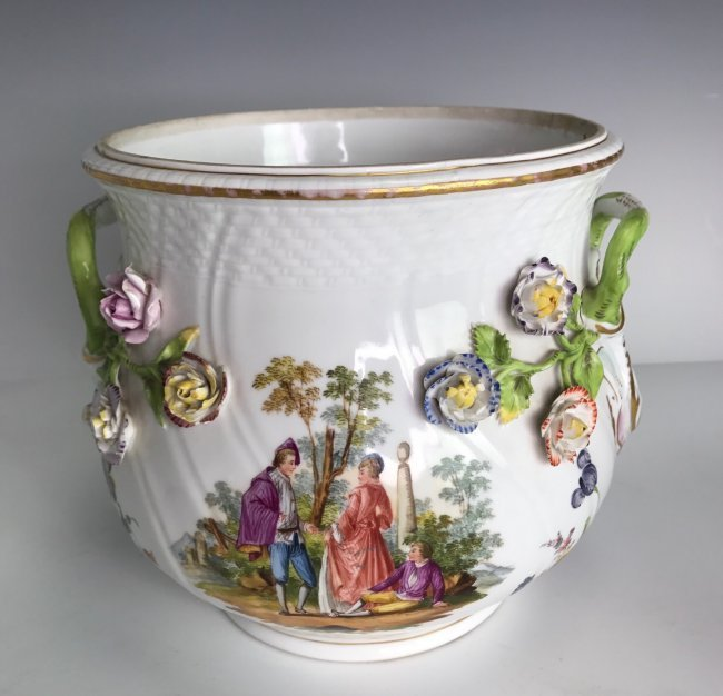 19TH C. MEISSEN STYLE FLOWER ENCRUSTED JARDENIER - 2