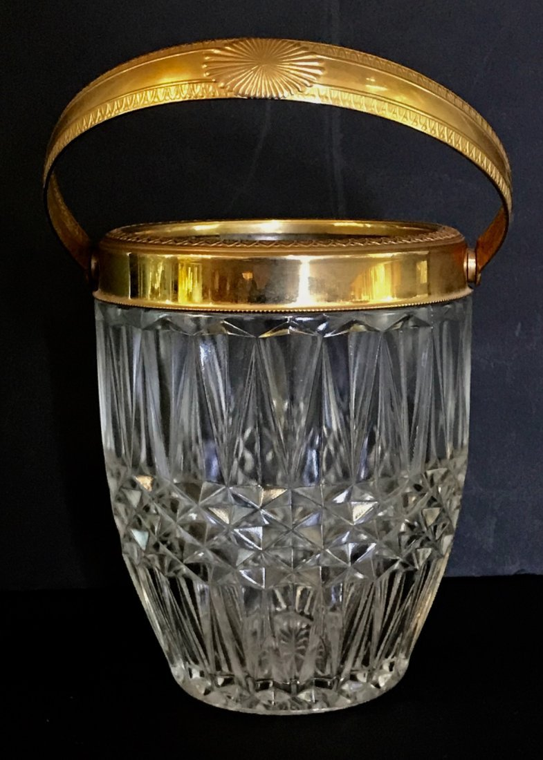 DORE BRONZE MOUNTED BACCARAT GLASS ICE BUCKET