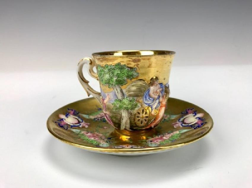 19TH C. CAPODIMONTE CUP AND SAUCER