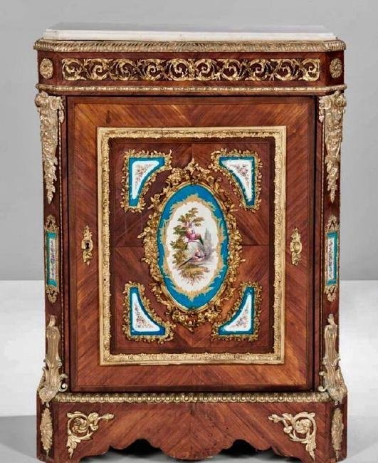 LOUIS XVI STYLE SEVRES AND ORMOLU MOUNTED COMMODE
