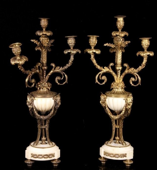 A LARGE PAIR OF ORMOLU AND WHITE MARBLE CANDELABRA