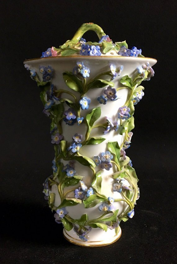 19TH C FORGET ME NOT FLOWER ENCRUSTED POT POURI