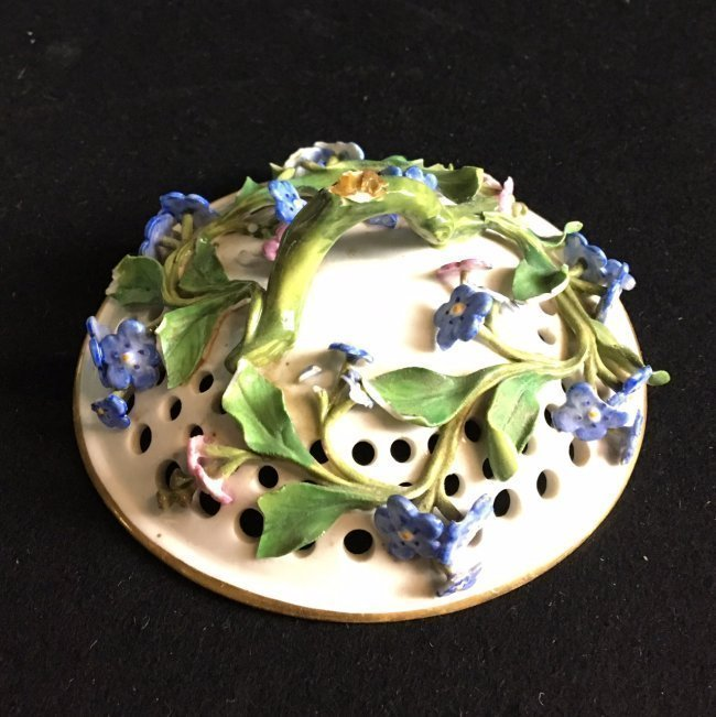 19TH C FORGET ME NOT FLOWER ENCRUSTED POT POURI - 2