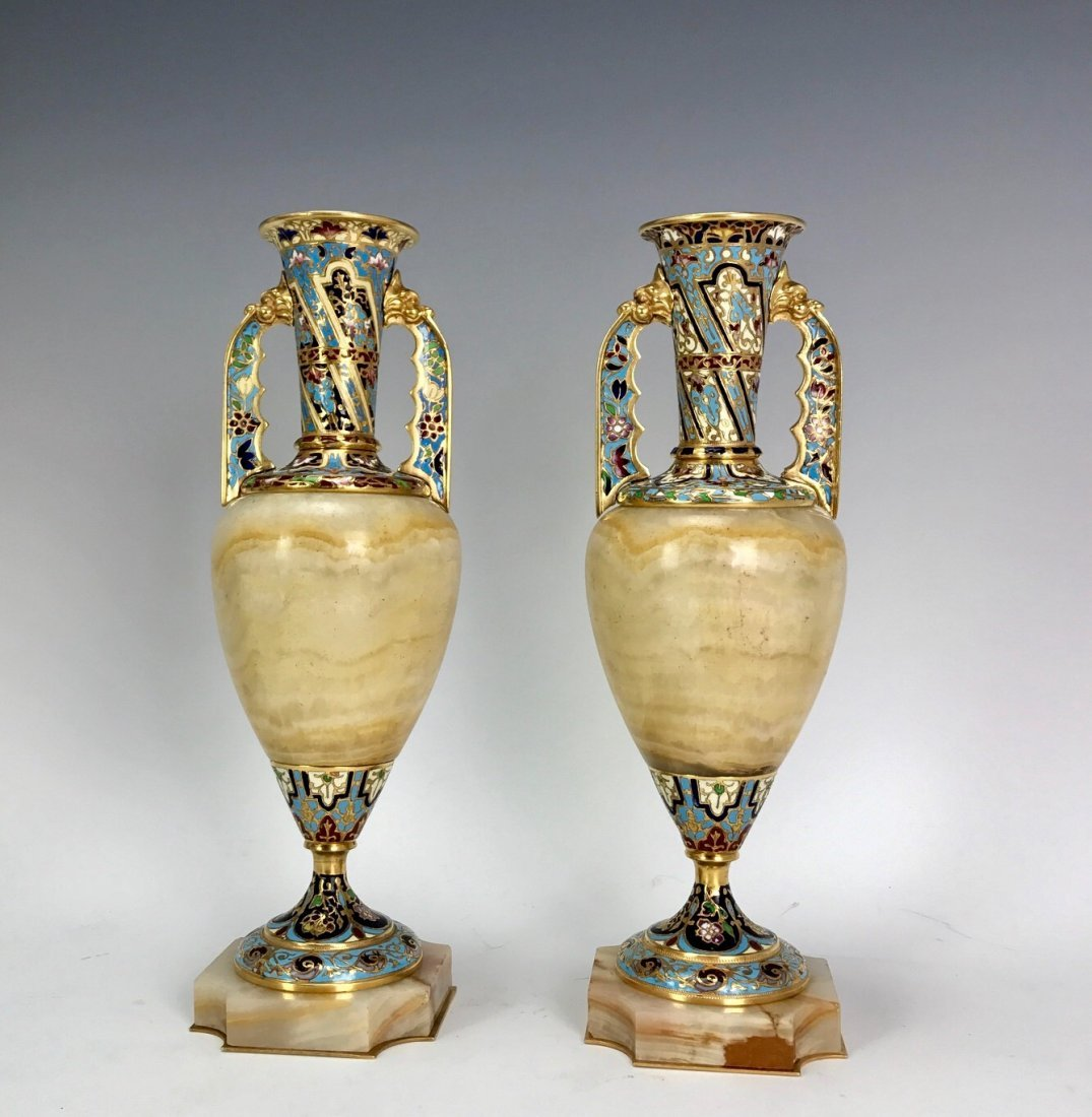 A PAIR OF 19TH C. CHAMPLEVE ENAMEL & ALABASTER VASES