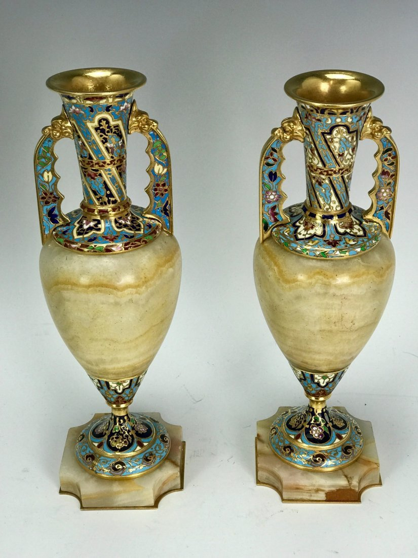A PAIR OF 19TH C. CHAMPLEVE ENAMEL & ALABASTER VASES - 2
