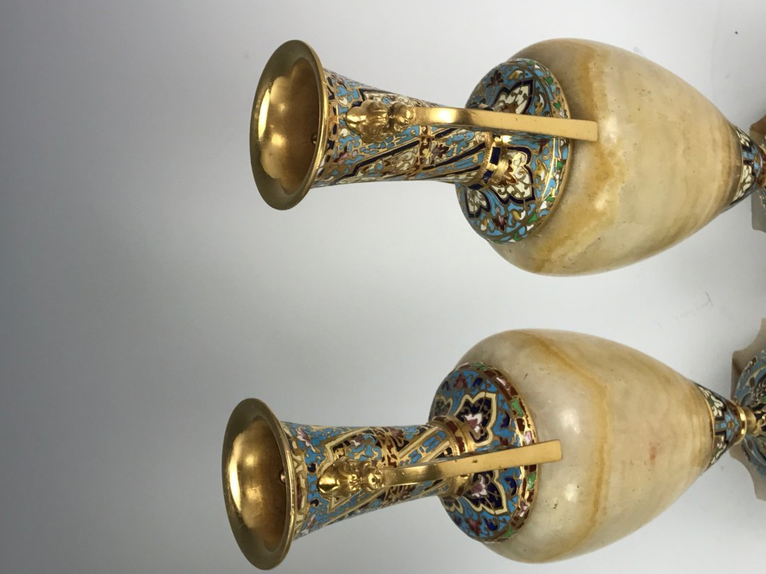 A PAIR OF 19TH C. CHAMPLEVE ENAMEL & ALABASTER VASES - 3
