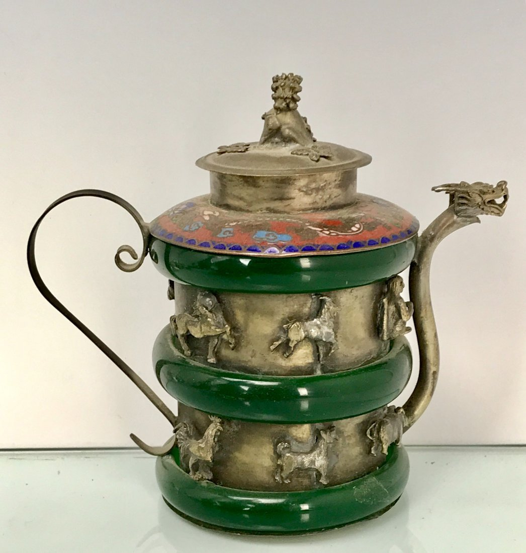 CHINESE CLAD SILVER AND JADE TEA POT