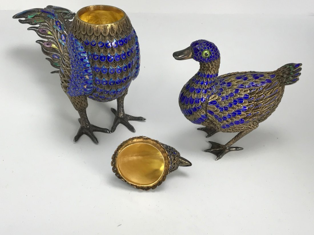 2 CHINESE SILVER AND ENAMEL BIRDS - 2