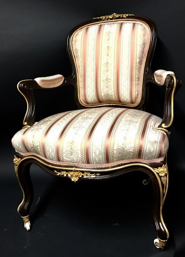 A PAIR OF LOUIS XVI STYLE ORMOLU MOUNTED ARMCHAIRS - 2
