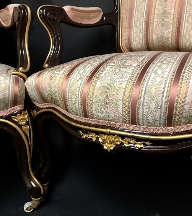 A PAIR OF LOUIS XVI STYLE ORMOLU MOUNTED ARMCHAIRS - 3