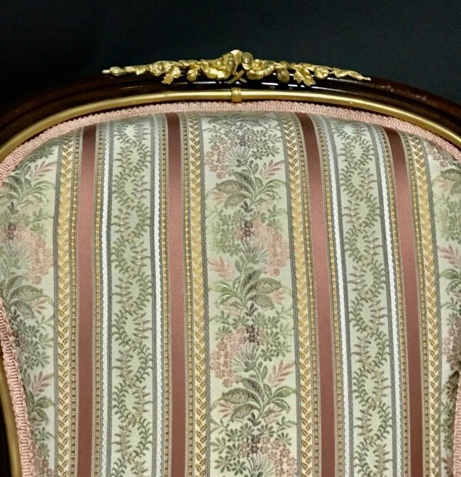 A PAIR OF LOUIS XVI STYLE ORMOLU MOUNTED ARMCHAIRS - 5