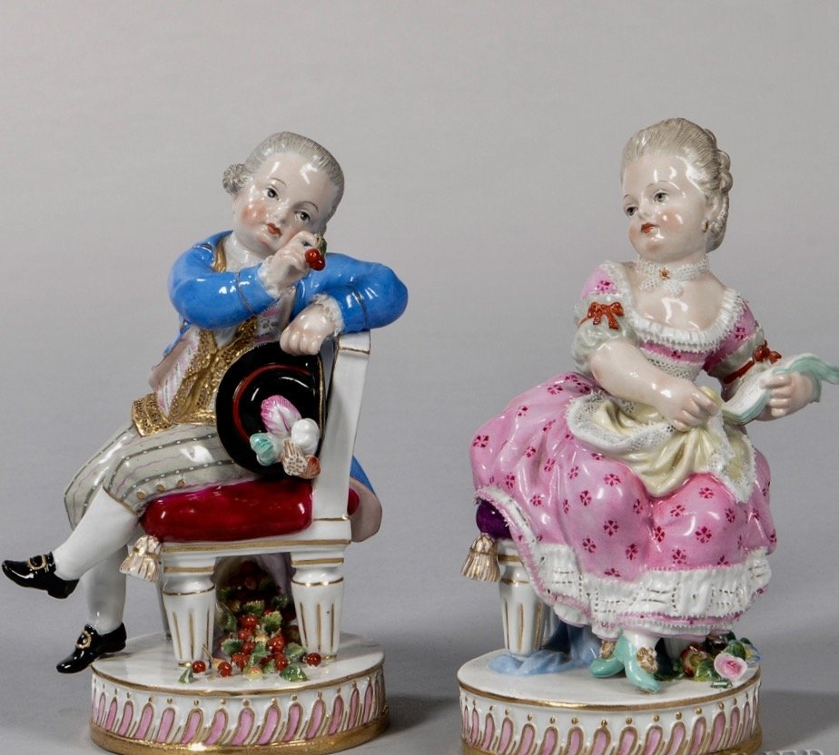 A PAIR OF 19TH C. MEISSEN FIGURES