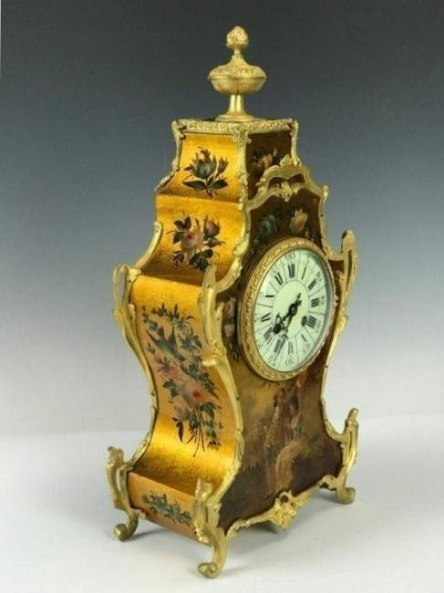 19TH C. FRENCH ORMOLU MOUNTED VERNIS MARTIN CLOCK