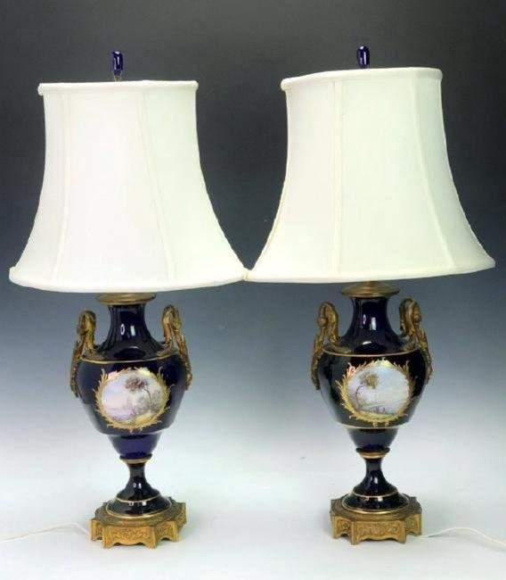 A PAIR OF ORMOLU MOUNTED SEVRES LAMPS - 2