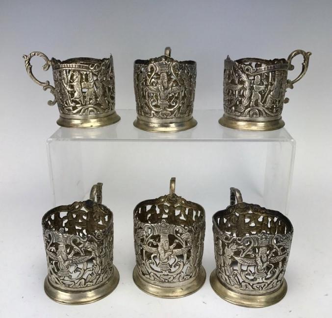 SET OF SIX LARGE SHIRAZ SILVER TEA CUP HOLDERS