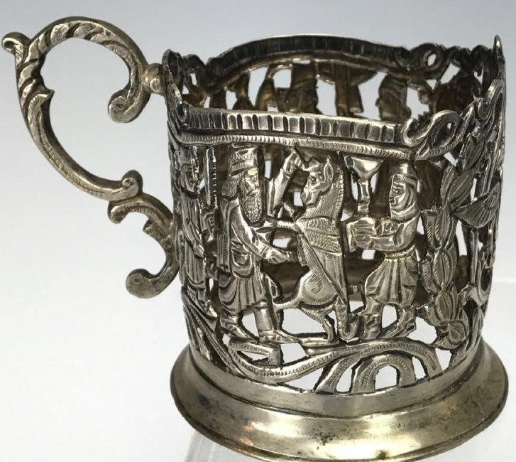 SET OF SIX LARGE SHIRAZ SILVER TEA CUP HOLDERS - 3