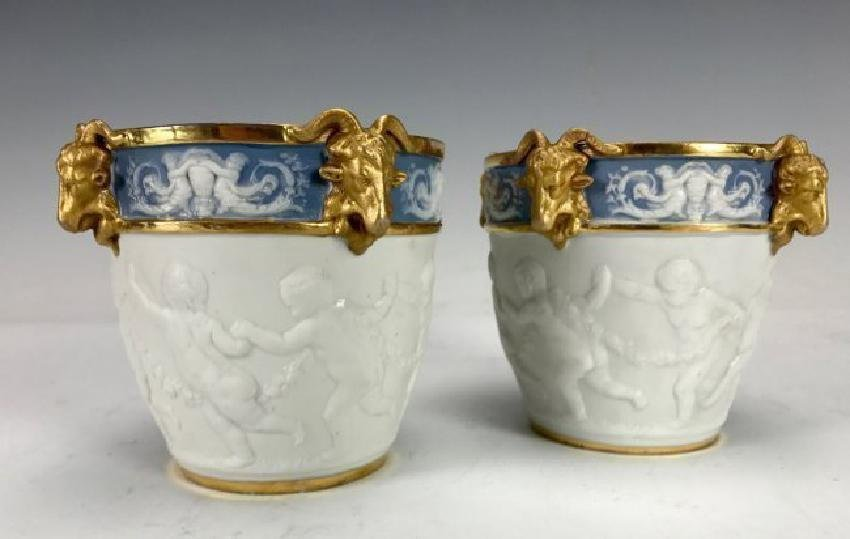 PAIR OF FRENCH SEVRES STYLE CACHE POTS CIRCA 1900