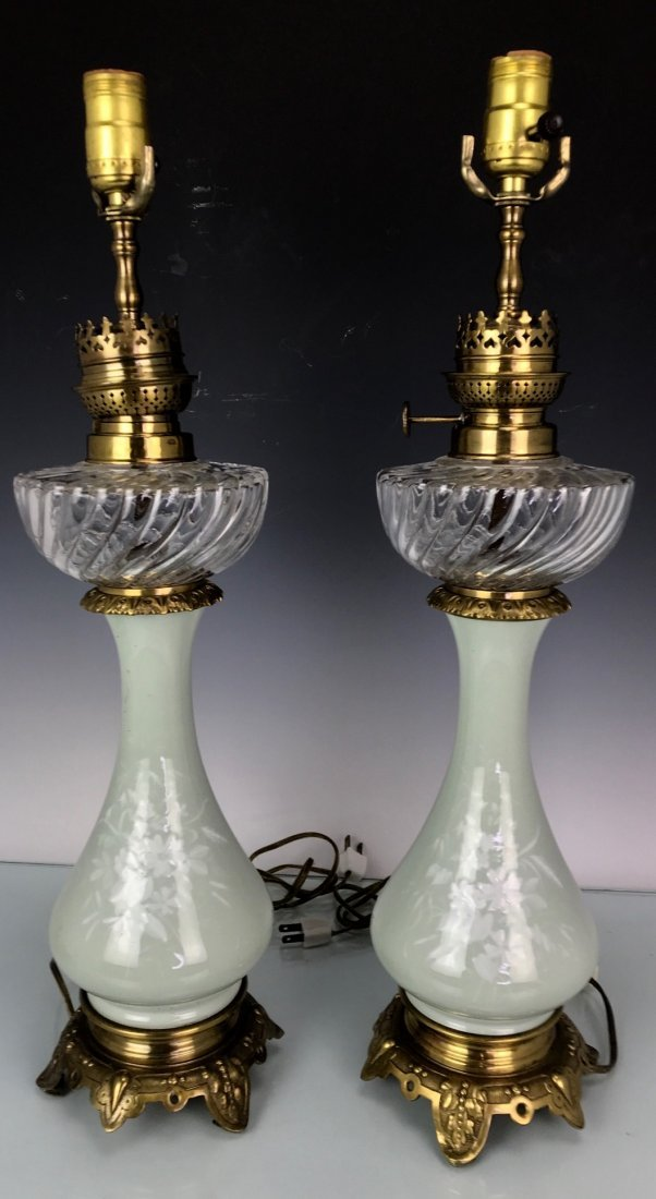 PAIR OF 19TH C. FRENCH PATE SUR PATE AND BACCARAT LAMPS