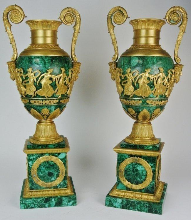 PAIR OF 19TH CENTURY EMPIRE STYLE ORMOLU MALACHITE URNS