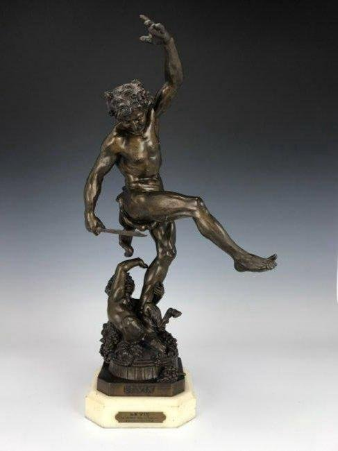 VERY RARE 19TH C. PATINATED BRONZE SCULPTURE OF LEVIN