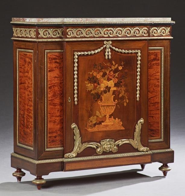 19TH C. ORMOLU MOUNTED MARBLE TOP MARQUETRY COMMODE
