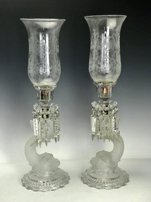 A PAIR OF SIGNED BACCARAT HURRICANE LAMPS