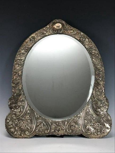 A VICTORIAN STERLING SILVER MIRROR