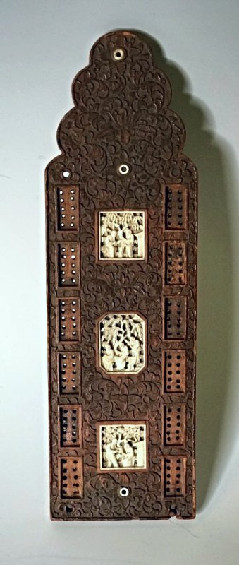 19TH C. CHINESE CARVED WOOD GAME BOARD