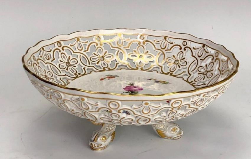 19TH C. MEISSEN RETICULATED FOOTED BOWL