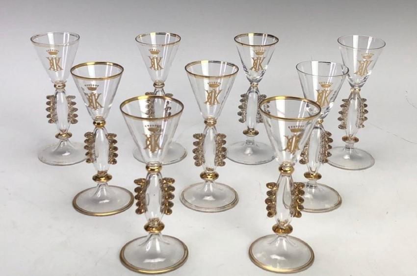 SET OF 9 GILT SHOT GLASSES