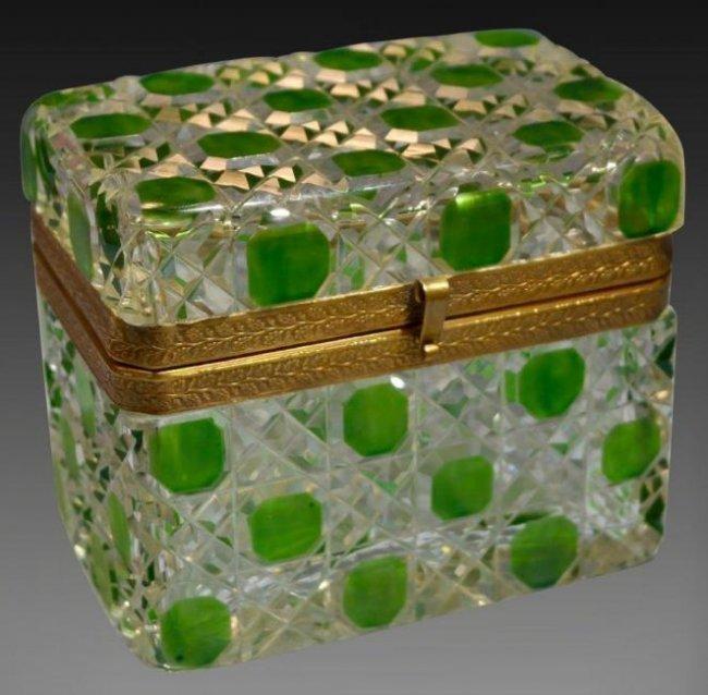 A BACCARAT CUT CRYSTAL JEWELRY BOX