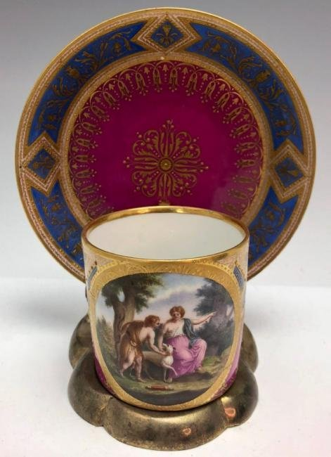 19TH C. ROYAL VIENNA CUP AND SAUCER