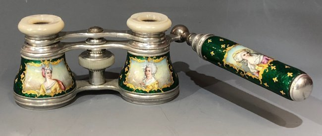 A PAIR OF LIMOGES ENAMEL OPERA GLASSES
