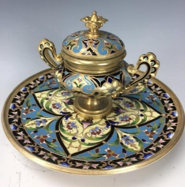 19TH CENTURY CHAMPLEVE ENAMEL INKWELL
