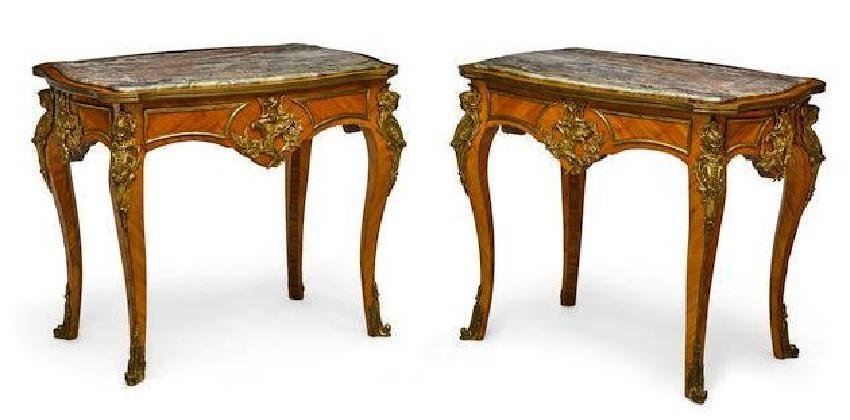 A PAIR OF 19TH C. MARBLE TOP ORMOLU MOUNTED TABLES