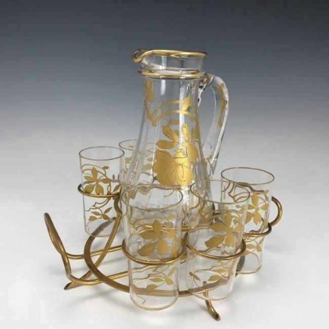 19TH C. ENAMELLED BACCARAT DRINKING SET