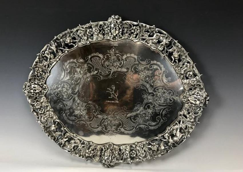 EDWARDIAN STERLING SILVER TRAY BY CHARLES FAVELL & CO