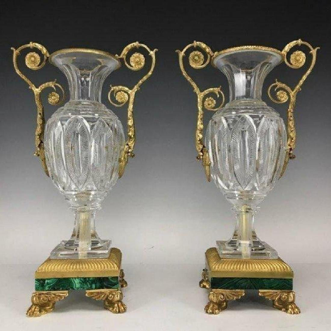 A PAIR OF ORMOLU MOUNTED BACCARAT GLASS VASES